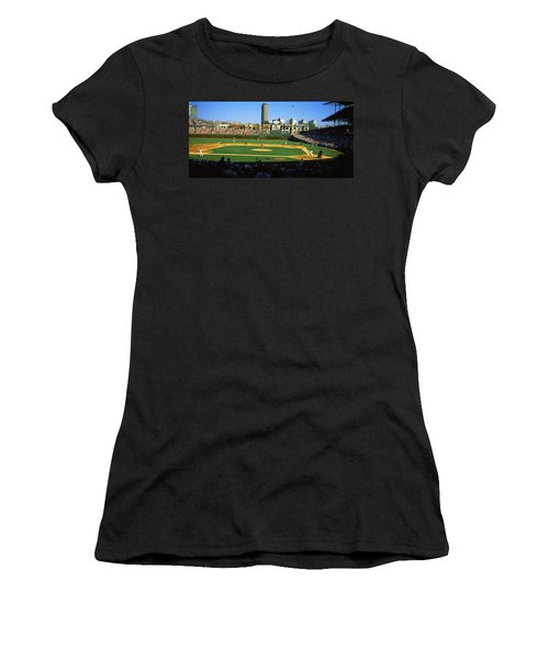Spectators In A Stadium, Wrigley Field Women's T-Shirt (Junior Cut) by Panoramic Images