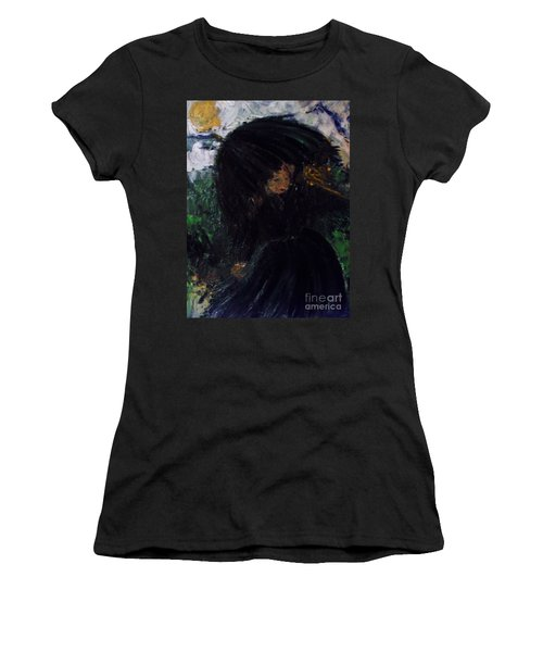 Women's T-Shirt (Athletic Fit) featuring the painting The Widow by Laurie L