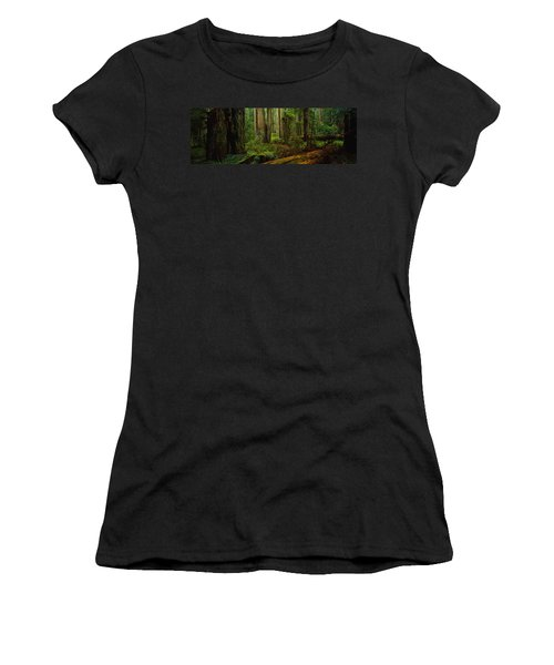 Trees In A Forest, Hoh Rainforest Women's T-Shirt (Athletic Fit)