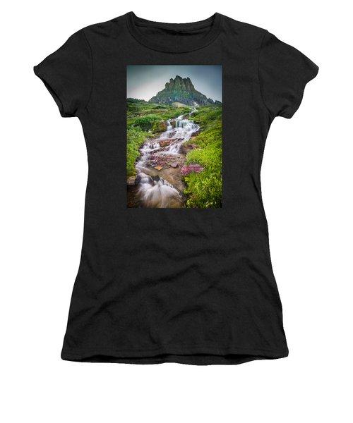 Triple Falls Stream Glacier National Park Women's T-Shirt (Athletic Fit)