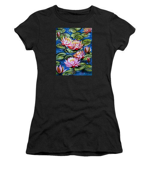 Women's T-Shirt (Junior Cut) featuring the painting Water Lilies by Harsh Malik