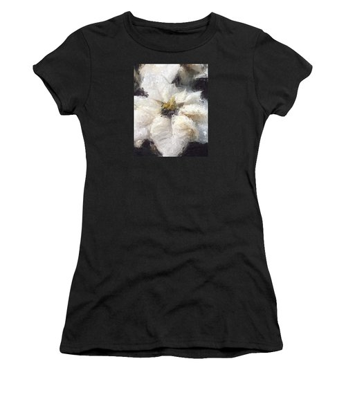 Women's T-Shirt featuring the painting White Poinsettias Christmas Card by Jennifer Hotai