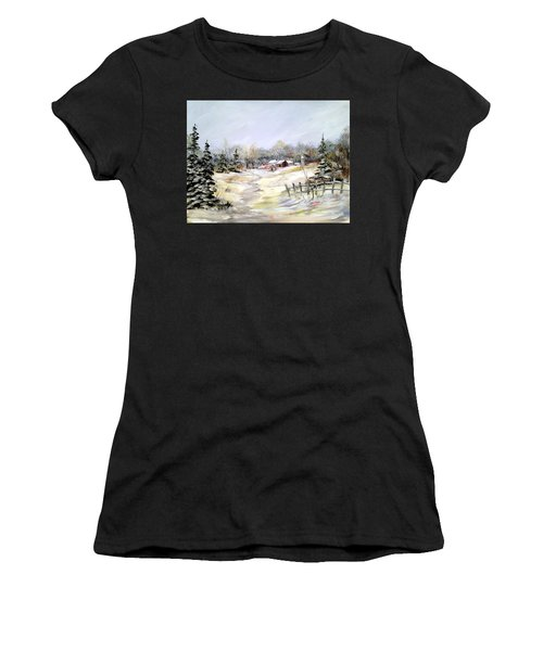 Winter At The Farm Women's T-Shirt (Athletic Fit)