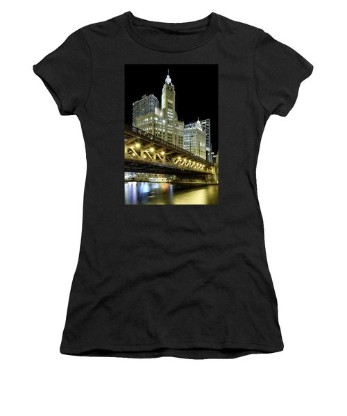 Women's T-Shirt (Athletic Fit) featuring the photograph Wrigley Building At Night by Sebastian Musial