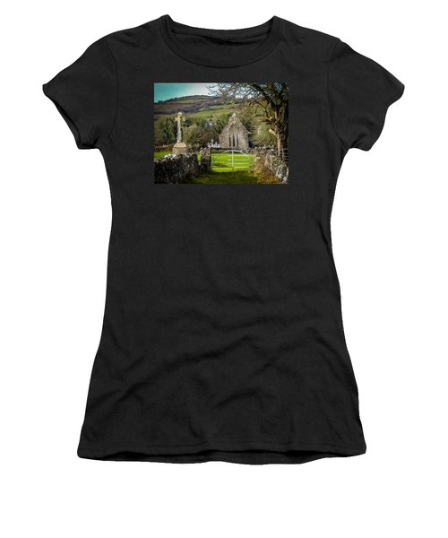 12th Century Cross And Church In Ireland Women's T-Shirt