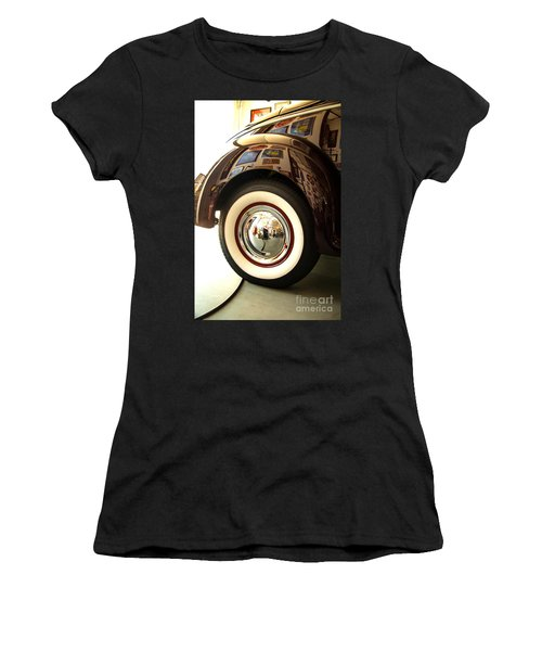 Women's T-Shirt (Junior Cut) featuring the photograph Classic Maroon 1940 Ford Rear Fender And Wheel   by Jerry Cowart