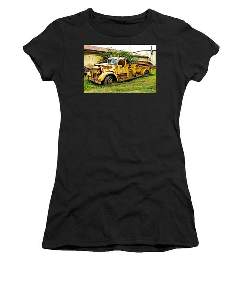 Women's T-Shirt (Junior Cut) featuring the photograph 1954 Federal Fire Engine by Paul Mashburn