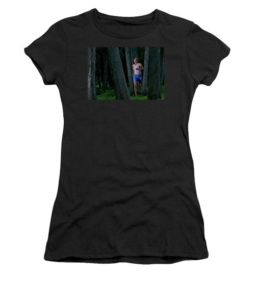A Woman Trail Running In The Forests Women's T-Shirt