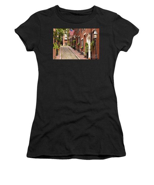 Acorn Street Boston Women's T-Shirt (Athletic Fit)