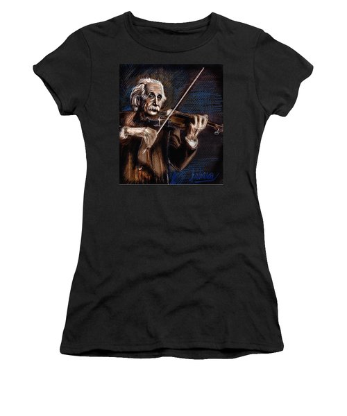 Albert Einstein And Violin Women's T-Shirt (Athletic Fit)