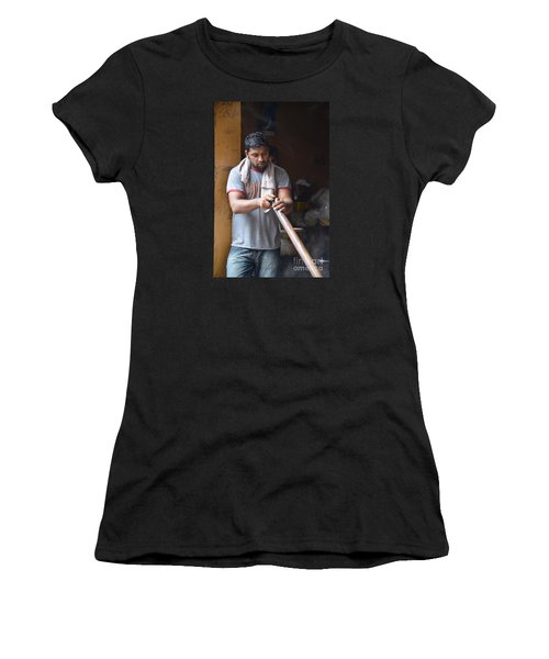 Women's T-Shirt (Junior Cut) featuring the photograph Cooking Breakfast Early Morning Lahore Pakistan by Imran Ahmed