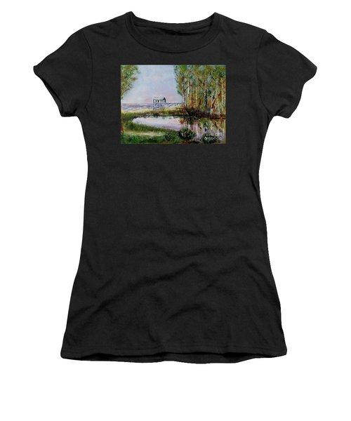 Fairhope Al. Duck Pond Women's T-Shirt (Junior Cut) by Melvin Turner