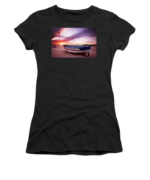 Women's T-Shirt featuring the photograph Fishing Boat At Sunset / Tunisia by Barry O Carroll