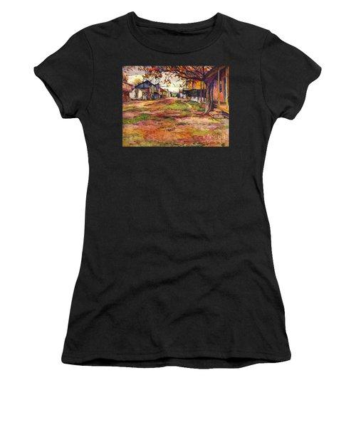 Main Street Of Early Spanish California Days San Juan Bautista Rowena M Abdy Early California Artist Women's T-Shirt