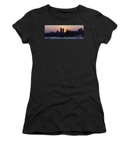 Women's T-Shirt (Junior Cut) featuring the photograph Morning On The Hudson by Lilliana Mendez