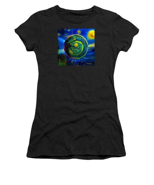 Orbiting A Starry Night  Women's T-Shirt (Junior Cut) by Robin Moline
