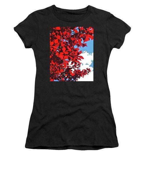 Plum Tree Cloudy Blue Sky 3 Women's T-Shirt (Junior Cut) by CML Brown