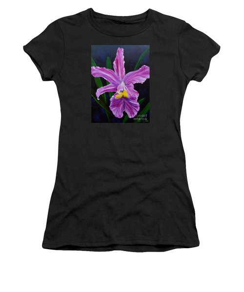 Women's T-Shirt (Junior Cut) featuring the painting Purple Orchid by Jenny Lee