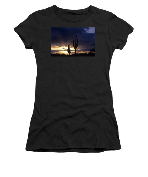 Silhouetted Saguaro Cactus Sunset At Dusk Arizona State Usa Women's T-Shirt (Athletic Fit)