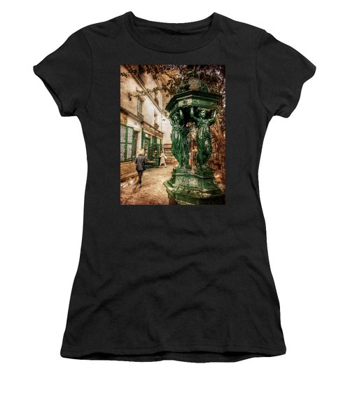 Women's T-Shirt featuring the photograph Wallace Fountain By Shakespeare And Co / Paris by Barry O Carroll