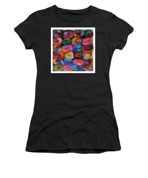Colorful Knitting Yarn Women's T-Shirt (Junior Cut) by Les Palenik