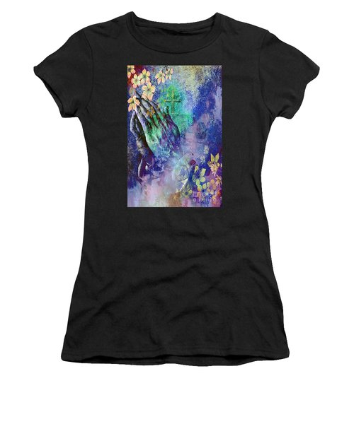Praying Hands Flowers And Cross Women's T-Shirt (Athletic Fit)