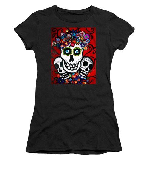 Women's T-Shirt (Junior Cut) featuring the painting 3 Skulls by Pristine Cartera Turkus