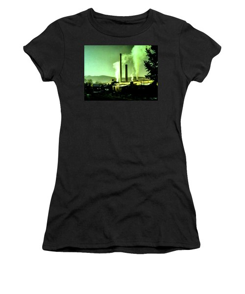 Women's T-Shirt (Junior Cut) featuring the painting Twin Peaks by Luis Ludzska