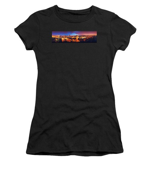 High Angle View Of A City Lit Women's T-Shirt