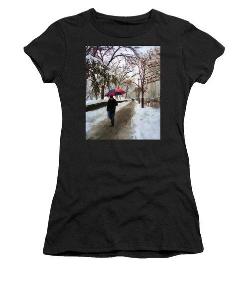Snowfall In Central Park Women's T-Shirt