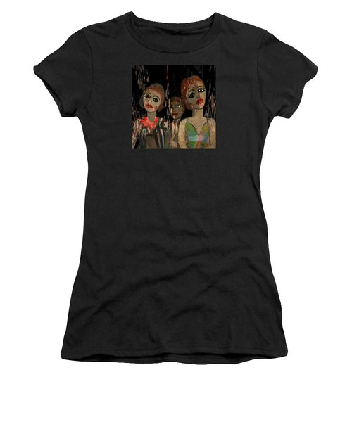 562 - Three Young Girls   Women's T-Shirt (Athletic Fit)