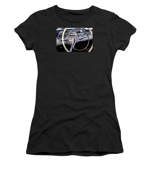 58 Cadillac Dashboard Women's T-Shirt (Junior Cut) by Jerry Fornarotto