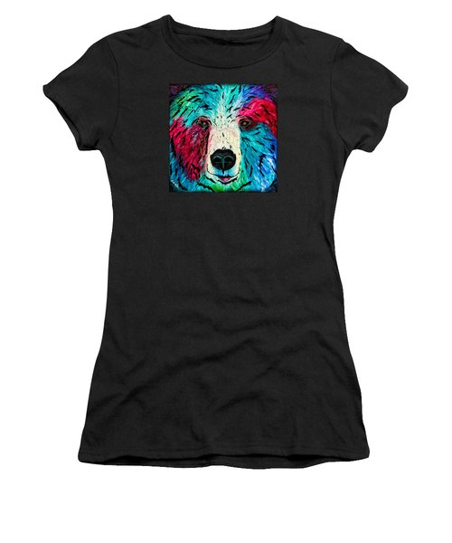 Women's T-Shirt (Athletic Fit) featuring the painting Bear by Dede Koll