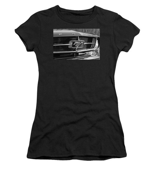 1965 Shelby Prototype Ford Mustang Grille Emblem Women's T-Shirt (Junior Cut) by Jill Reger