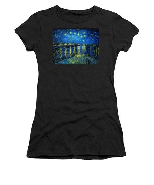 Starry Night Over The Rhone Women's T-Shirt (Junior Cut) by Vincent van Gogh