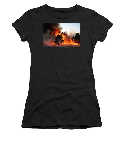 A Burst Of Flames From The White Draw Fire Women's T-Shirt (Athletic Fit)