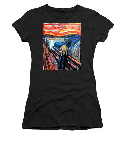 A Cat For Edvard Munch_ Annie Passing Through Women's T-Shirt (Athletic Fit)