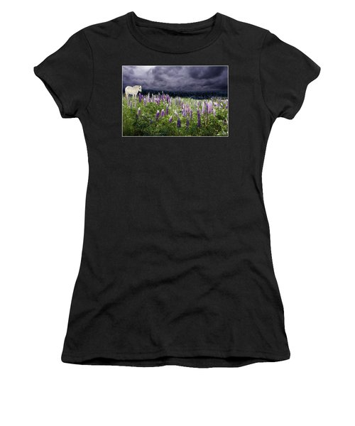 Women's T-Shirt featuring the photograph A Childs Dream Among Lupine by Wayne King