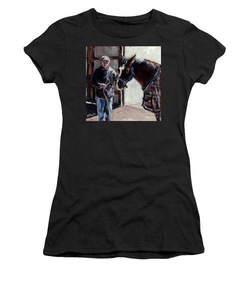 Women's T-Shirt (Junior Cut) featuring the painting A Derby Day Of Sorts by Molly Poole