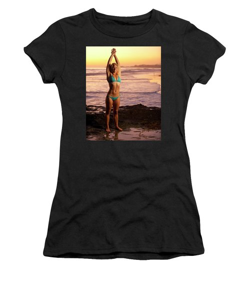 A Fit Blonde Woman In A Bikini Women's T-Shirt