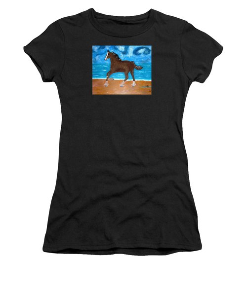 A Horse On The Beach Women's T-Shirt (Athletic Fit)