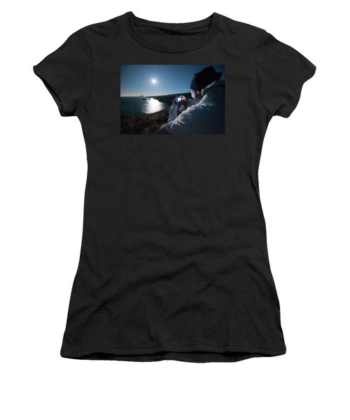 A Man Captures The Full Moon Women's T-Shirt