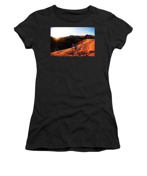 A Middle Age Man Rides His Mountain Women's T-Shirt