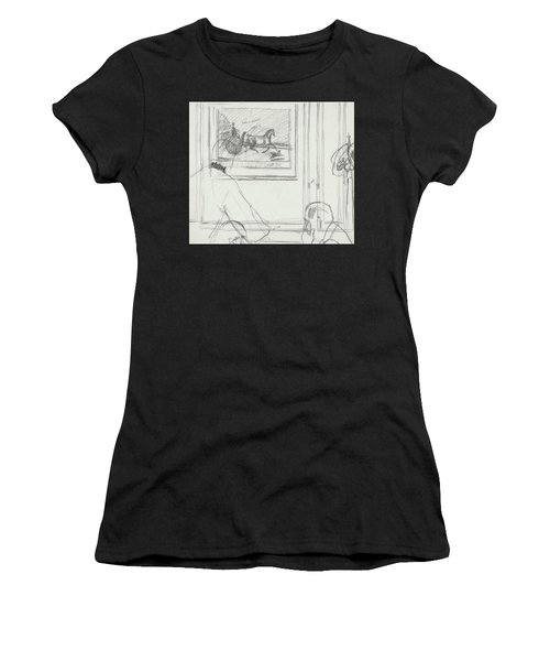 A Sketch Of A Horse Painting At A Bar Women's T-Shirt