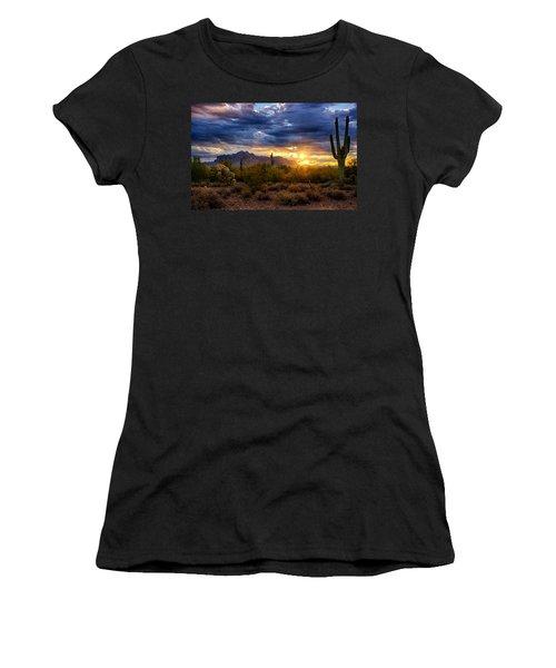 A Sonoran Desert Sunrise Women's T-Shirt (Junior Cut) by Saija  Lehtonen