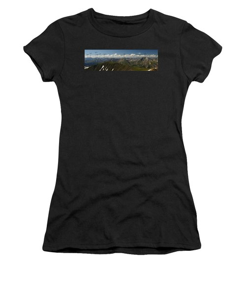 A Summit View Panorama With Peak Labels Women's T-Shirt (Athletic Fit)