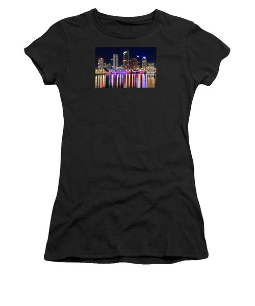 A Tampa Bay Night Women's T-Shirt (Junior Cut) by Frozen in Time Fine Art Photography