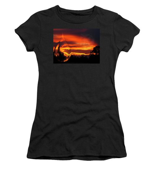 Women's T-Shirt (Junior Cut) featuring the digital art A Teardrop In Time by Joyce Dickens