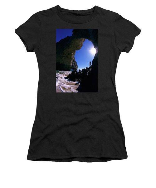 A Woman Looks Under A Sea Arch, Baja Women's T-Shirt