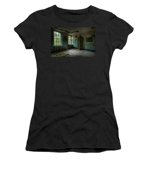 Women's T-Shirt featuring the photograph Abandoned Places - Asylum - Old Windows - Waiting Room by Gary Heller